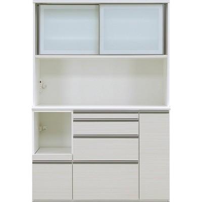 食器棚 引き戸 ガラス キッチン収納 キッチンボード レンジ台 日本製 ダイニングボード エブリー 140 KB WH (配送員設置)