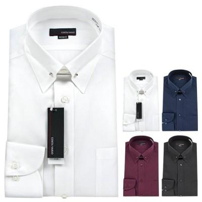 ピンホール ワイシャツ メンズ 長袖 フォーマルシャツ ビジネスシャツ 綿100% 日本製 M L LL COSTAVAIO 【PKK】deal 0818zz 50par