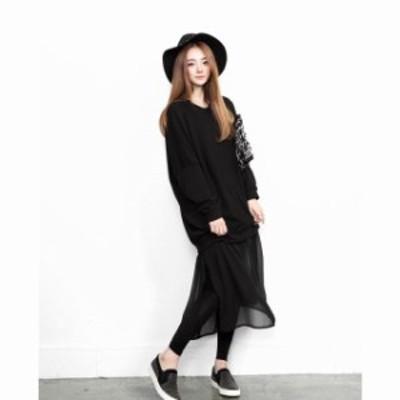 ニットトップスとシフォンスカートのワンピース☆黒 ロング丈 透け感 カジュアル リラックス 大きめサイズ 2XL