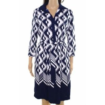 Anne Klein アンクライン ファッション ドレス Anne Klein NEW Blue Women Size Large L Printed Colorblocked Shift Dress