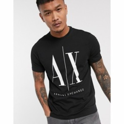 アルマーニ Armani Exchange メンズ Tシャツ トップス Icon Ax Large Logo T-Shirt In Black ブラック