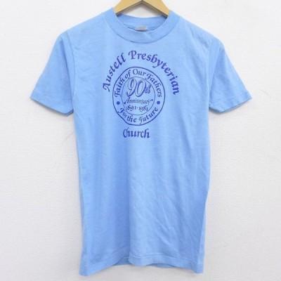 S/古着 半袖 ビンテージ Tシャツ メンズ 80s Austell Presbyterian 教会 クルーネック 薄紺 ネイビー 霜降り 21may31 中古