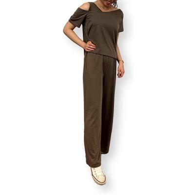 Ella Liliana (エラ リリアーナ) オールインワン レディース セットアップ 半袖 ワイドパンツ 上下セット 超ストレッチ素材 体型カバー