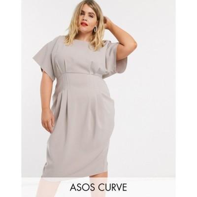 エイソス ドレス 大きいサイズ レディース ASOS DESIGN Curve nipped in waist midi pencil dress in grey エイソス ASOS グレー 灰色