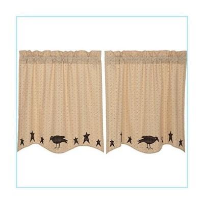 新品VHC Brands Primitive-Kitchen Curtains Prim Grove Crow-Rod Pocket Cotton Appliqued Star 36x36 Tier Pair, Dark Creme Tan