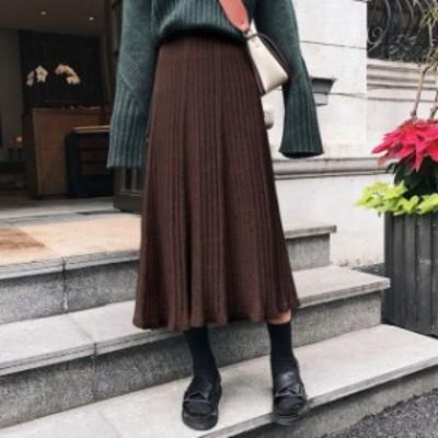 プリーツスカート 大きいサイズ ニット ロング丈 無地 Aライン ハイウエスト カジュアル 秋冬 お出かけ ベーシック 黒 グレー ブラウン