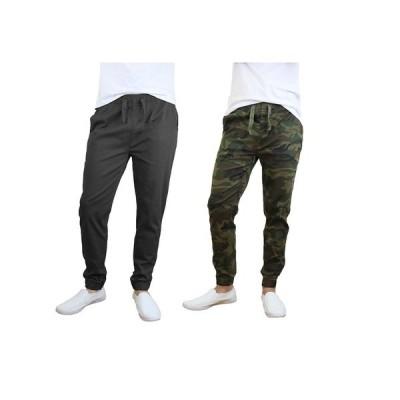 ギャラクシーバイハルビック カジュアルパンツ ボトムス メンズ Men's Basic Stretch Twill Joggers, Pack of 2 Black, Camouflage