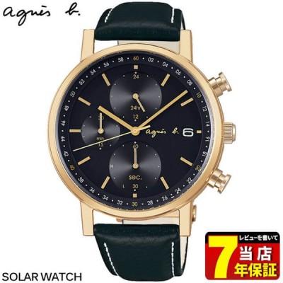 マスク付 agnesb. アニエスベー SEIKO セイコー オム ソーラー シンプル&タイムレス メンズ 腕時計 ブラック ゴールド FBRD936 国内正規品