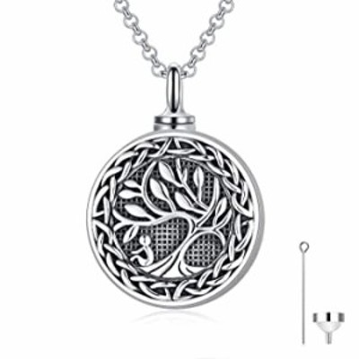 PROESS Tree of Life Necklace-Cremation Necklace for Ashes Sterling Silver Family Tree Pendant Urn Necklace Keepsake Jewelry for