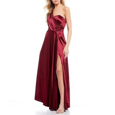ティーズミー レディース ワンピース トップス Sleeveless One-Shoulder Wrap Bodice High Side Slit Satin Long Dress
