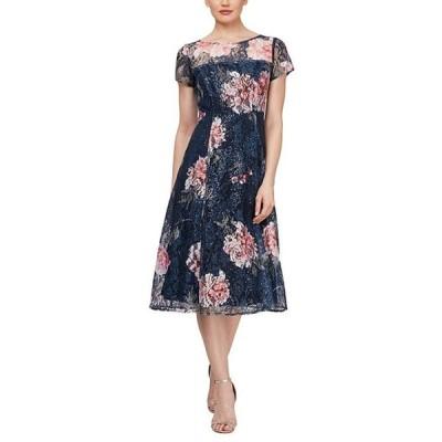 イグナイト レディース ワンピース トップス Floral Short Sleeve Sequin Lace Midi Dress