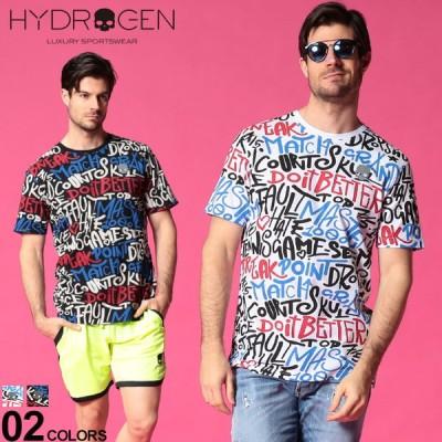 ハイドロゲン メンズ Tシャツ HYDROGEN グラフィック 総柄 プリント クルーネック 半袖 NEWGRAPHIC ブランド トップス コットン HYT00422