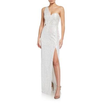 アイダン マトックス レディース ワンピース トップス Sequin One-Shoulder Column Gown