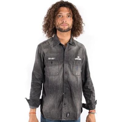 SSUR デニムシャツ シャツ 長袖 サー Kings County Jail Shirt button-up Black Denim ペイント加工 スケボー SKATE SK8 PUNK HIPHOP ヒップホップ SURF