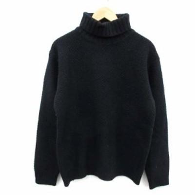 【中古】ビームス BEAMS ニット セーター 長袖 ウール タートルネック ワッフル編み L 紺 ネイビー /OI メンズ