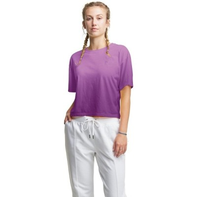 チャンピオン Tシャツ トップス レディース Champion Women's Cropped Ombre Short Sleeve T-shirt Purple Medium 01