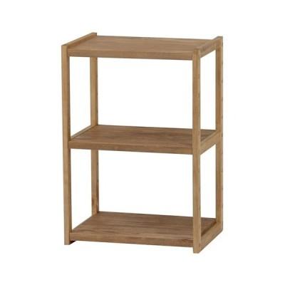 オープンシェルフ 木製 木製ラック 幅45cm 高さ65cm ライトブラウン 3段 ラック 収納棚 棚 シェルフ 本棚 オープンラック