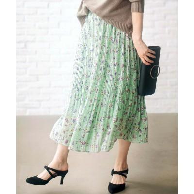 ジーラ GeeRA 裾消しプリーツロングスカート (ミント系花柄)