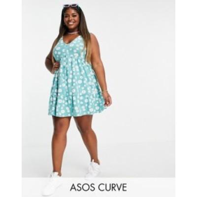 エイソス レディース ワンピース トップス ASOS DESIGN Curve button through smock dress in green daisy print Green daisy floral
