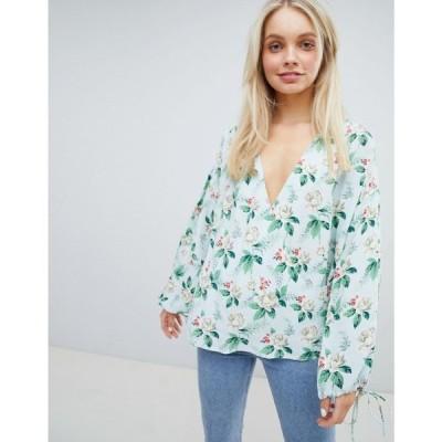エイソス ASOS DESIGN レディース トップス Oversize Wrap long sleeve top In Floral Print Multi