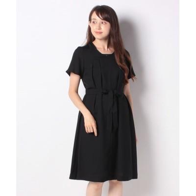 【ニューヨーカー】 Summer Black Dress/レースブロッキングドレス(キャミソールインナー付き) レディース ブラック 11 NEWYORKER
