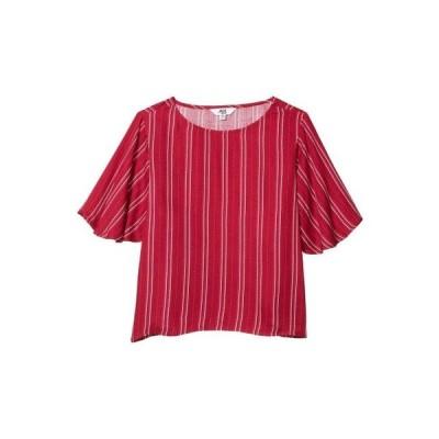 レディース シャツ トップス Printed Rayon Crepe Stripe Blouse with Flutter Sleeve