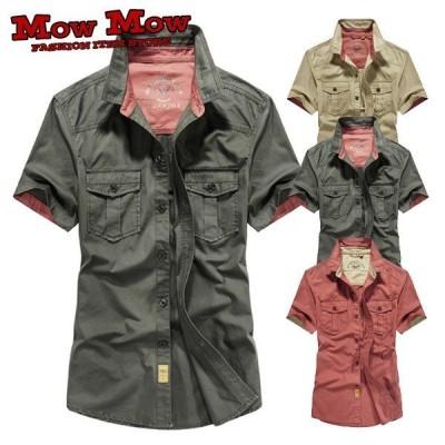 カジュアルシャツミリタリーシャツ半袖メンズワイシャツシャツジャケット