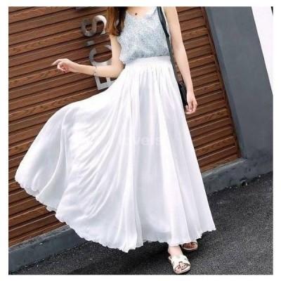 ふわりシフォンロングスカート 選べるスカート丈×5色 マキシ丈スカート スカート フレアスカート ロングスカート エレガント フェミニン