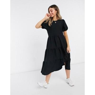 エイソス ASOS DESIGN レディース ワンピース ミドル丈 ワンピース・ドレス Asos Design Oversized Textured Midi Smock Dress In Black ブラック