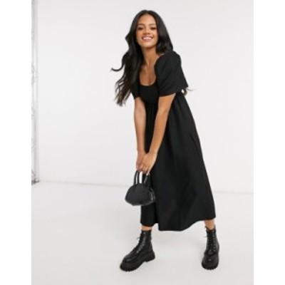 エイソス レディース ワンピース トップス ASOS DESIGN textured midi scoop neck smock dress in black Black