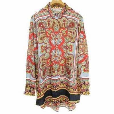 【中古】ザラ ZARA ロングシャツ ブラウス スカーフ柄 長袖 L マルチカラー レディース