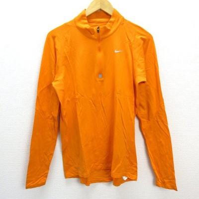 n■ナイキ/NIKE モックネック ハーフジップ長袖Tシャツ/インナーシャツ【M】橙/MENS/188【中古】
