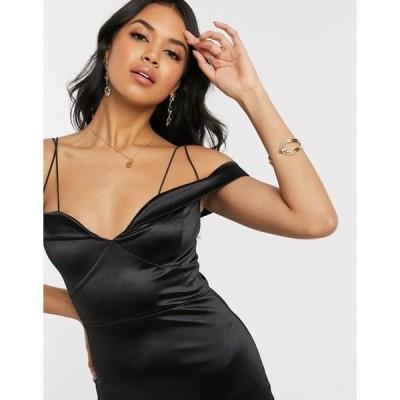 アックスパリ レディース ワンピース トップス AX Paris satin one shoulder cut out maxi dress in black