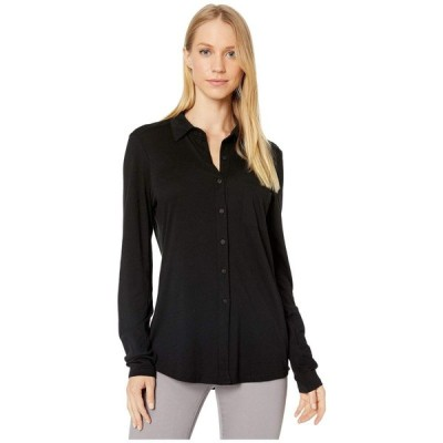 マイケルスターズ Michael Stars レディース トップス Ultra Jersey Harley Long Sleeve Knit Shirting Black