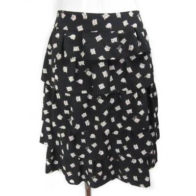 ケイタ マルヤマ 黒 薄ベージュ 猫柄 スカート 1