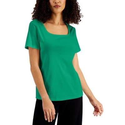 ケレンスコット カットソー トップス レディース Petite Cotton Square-Neck Top, Created for Macy's Green Verde
