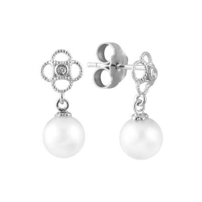 スプレンデッドパールズ ピアス&イヤリング アクセサリー レディース 14K Diamond & 6-6.5mm Freshwater Pearl Drop Earrings -