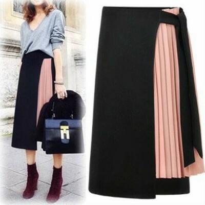 スカート プリーツスカート 春 プリーツスカート黒 ロングスカート 大きいサイズ スカート レディース ひざ下丈 ミディ丈 ハイウエスト