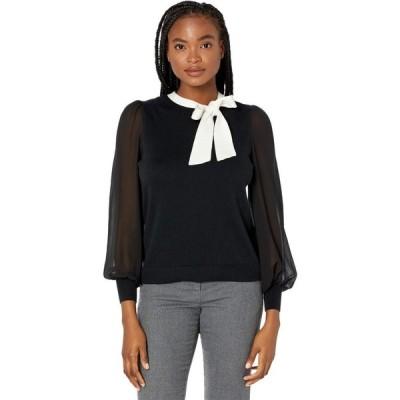 シーシー CeCe レディース ニット・セーター トップス Long Sleeve Mix Media Sweater with Bow Rich Black