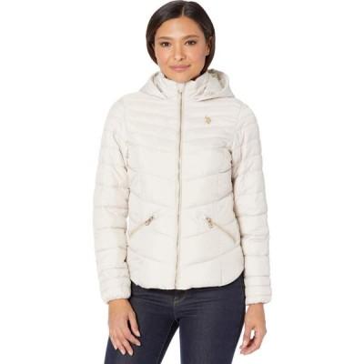 ユーエスポロアッスン U.S. POLO ASSN. レディース ダウン・中綿ジャケット アウター Moto Jacket Hood White Pearl