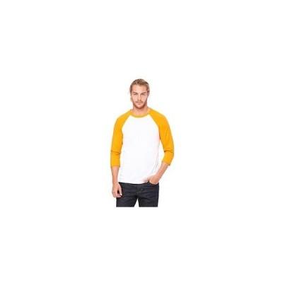 ユニセックス 衣類 トップス Bella 3200 Unisex 3 By 4 Sleeve Baseball Tee - White & Neon Orange, Small グラフィックティー