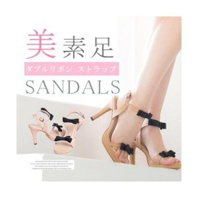 セール サンダル シューズ 靴 ヒール 美脚 リボンデザイン ダブルリボン 低反発 歩きやすい クッション