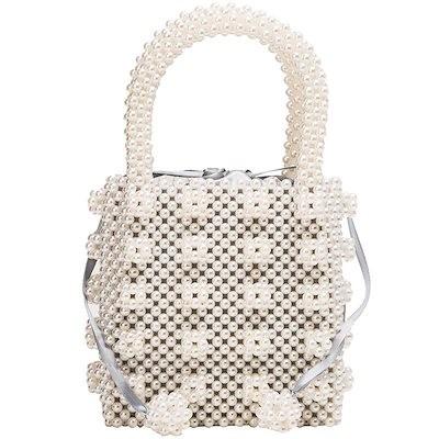 パールのポンポンが可愛い パール バッグ ハンドバッグ パールバッグ 鞄 かばん カバン リボン 巾着 エレガント 可愛い ポンポン