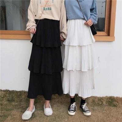 2色 レディース 大きいサイズ Aライン  ロングスカート  無地   ハイウエストゴム  シフォンスカート春夏 ティアードスカート