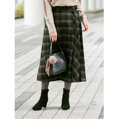 SHOO・LA・RUE/DRESKIP(シューラルー/ドレスキップ) 【M-L】チェック起毛サイドボタン付きスカート