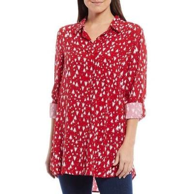イントロ レディース シャツ トップス Christmas Tree Print Roll-Tab Sleeve Button Down Shirt Tango Red