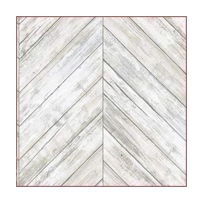 新品RoomMates RMK11453WP ヘリンボーン ホワイト&タン ウッドボード はがして貼る壁紙 はがせる壁紙 自己粘