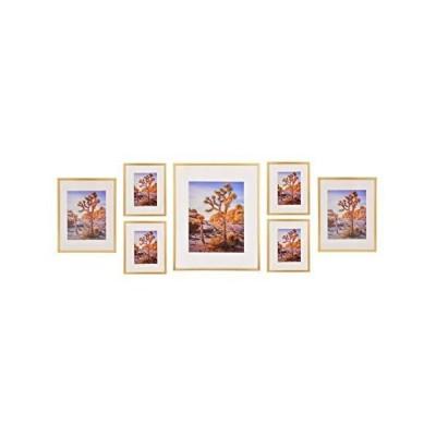 A Plus ゴールドメタルウォールフォトフレームコレクション アルミピクチャーフレームセット 7個セット 16x20インチ1枚 11x14インチ2枚