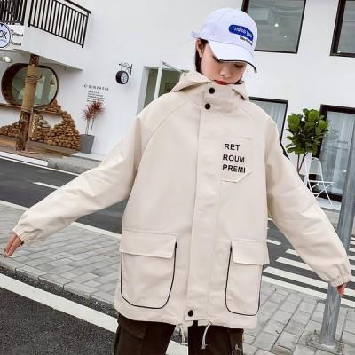 全2色 コート プリント バイカラー 大きいサイズ LOGO ロゴ 英字 帽子付き ポケット