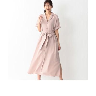 オープンカラーツイルシャツドレス